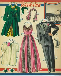 Here's Airliner paper dolls, 1941 featuring a Pilot and Stewardess. I also ...