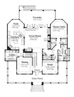 Coconut Grove is old-world Mediterranean architecture. This house plan has 3285 square feet of living area, three bedrooms and three and a half bathrooms.