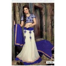 Designer Party wear dupion fabric, net  satin 60georgette off white and bluecolour lehenga. - $190.00