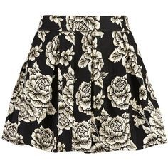 Zibi London Embroided Puff Skirt found on Polyvore featuring skirts, black, women, black a line skirt, pattern skirt, pleated skirt, print skirt and puffy skirts