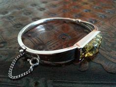 Vintage solid silver & real amber stone bracelet Baltic sea London hallmark