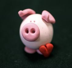 Valentine pig  polymer clay cute as a button by shankas on Etsy