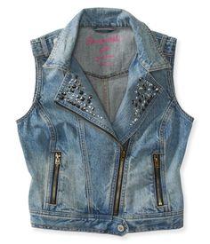 Studded Denim Moto Vest. I need this sooo bad!!
