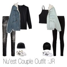 """Nu'est Couple Outfit : JR"" by hitthisfeeling ❤ liked on Polyvore featuring Aéropostale, Gucci, Lands' End, Jack & Jones, adidas and Stussy"