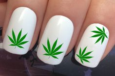 nail decals #362 green cannabis weed hash dope leaf water transfers stickers manicure art set x24 by Nailiciousuk on Etsy
