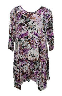 AKH Fashion Lagenlook ausgefallene Blumen Tunika Shirt in lila große Größen bei www.modeolymp.lafeo.de