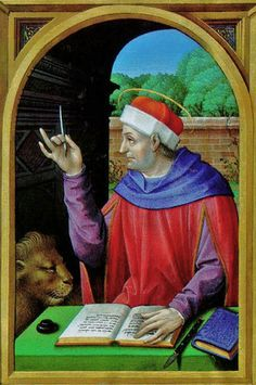 Mark (with his lion) sharpening his quill in French Renaissance Book of Hours as a scribe. Waddesdon Manor, Aylesbury, The National Trust. Ms 20, f. 13v.