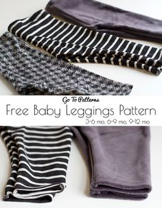 free Baby Go To Leggings Pattern. Sizes 3-6 months, 6-9 months and 9-12 months.
