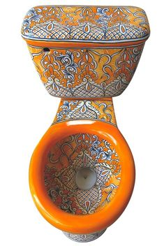 Mexican toilet decorated with Acapulco pattern works well with white, orange and brown bathrooms. The toilet comes with optional talavera accessory sets and hardware. Talavera Pottery, Boho Bathroom, Bathroom Sets, Bathroom Fixtures, Interior Decorating, Interior Design, Mexican Style, Room Accessories, Decorative Bowls