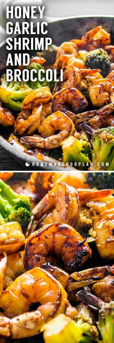 Honey Garlic Shrimp and Broccoli! Browned honey garlic shrimp with tender broccoli - a super easy dinner that packs a wallop of flavor with simple, common ingredients. | HomemadeHooplah.com #seafoodrecipes