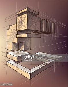 Vector illustration of geometric shapes. 2 Point Perspective Drawing, Perspective Art, Architecture Concept Drawings, Art And Architecture, Geometric Shapes Drawing, Basic Sketching, Architecture Foundation, Interior Design Presentation, Interior Design Sketches