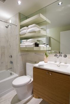 Vanity. Towel shelf over toilet?