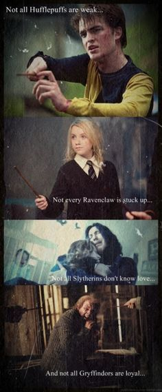 Not all Hufflepuffs are weak. Not every Ravenclaw is stuck up. Not all Slytherins don't know love. And not all Gryffindors are loyal.