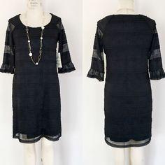 Sangria Black 3/4 Bell Sleeve Tunic Dress- Size 8 #Sangria #Tunic #CasualFormalLittleLackDress