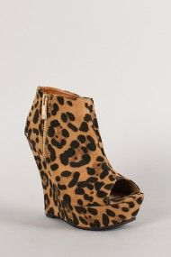 Leopard Side Zip Peep Toe Wedge