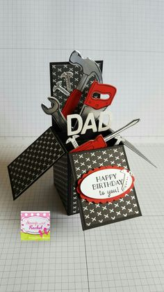 16 trendy gift cars ideas for guys stampin up Fun Fold Cards, Folded Cards, Box Cards Tutorial, Card Tutorials, Pop Up Box Cards, Card Boxes, Masculine Birthday Cards, Masculine Cards, Exploding Box Card