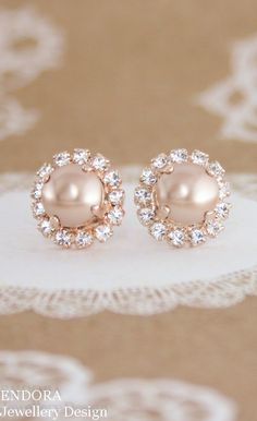 rose gold pearl earringsrose gold wedding by EndoraJewellery