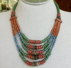 Vtg Ceramic Mummy Bead Necklace Ancient Egyptian Faience Style Tribal Ethnic #NotSigned #Choker