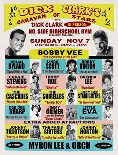 DICK CLARK'S CARAVAN OF STARS CONCERT POSTER 50s Music, Vintage Music, Rock Posters, Band Posters, Music Posters, Rock And Roll History, Vintage Concert Posters, Country Music Singers, Music Images