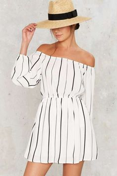 Factory Line of the Times Off-the-Shoulder Dress - White