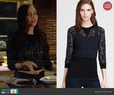 Brenna's cropped lace sweater on Chasing Life.  Outfit Details: http://wornontv.net/46924/ #ChasingLife