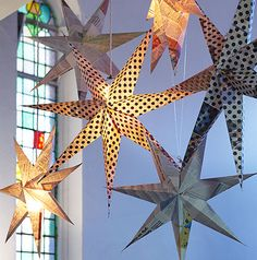 Giant stars made of leftover newspaper!