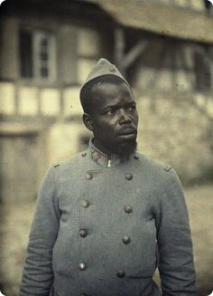 African colonial soldier fighting for France, WWI. Original colour photo, not colourized.