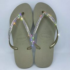 57aa66b87fa Gold Thin Strap SWAROVSKI® embellished Havaiana - 2 Rows  The Row