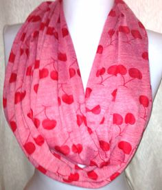 Red Cherry Infinity Scarf Valentine's Day Wide and by Phatcatpatch, $13.99