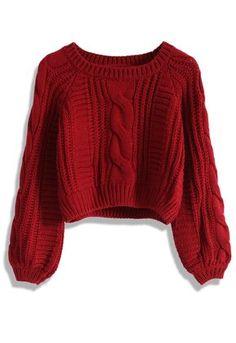 Suéter Corto con Tejido de Patrón de Cable en Vino - New Arrivals - Retro, Indie and Unique Fashion
