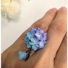 紫陽花のゆびわ(紫色)レース編み