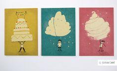 Birthday Cards – 6 Karten GEBURTSTAG + Grüße – a unique product by KatrinaLange on DaWanda