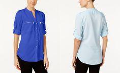Calvin Klein Zip-Pocket Utility Blouse - Tops - Women - Macy's