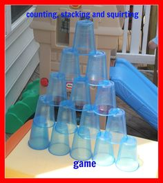 Momma's Fun World: Count, Stack, and Squirt Game Teaching Activities, Creative Activities, Craft Activities For Kids, Summer Activities, Games For Kids, Nerf Party, Little Games, Fun World, Outdoor Learning