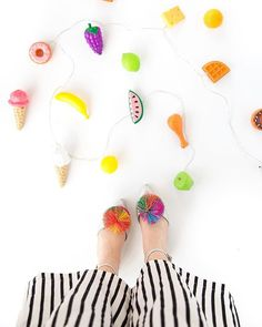 Plastic food string lights #DIY via @aww.sam #party #make #craft #kids #birthday #summer #patio #deck #fun