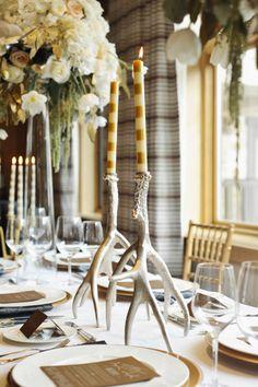 Silver Antler Candlesticks Reception Decor | photography by http://www.rebekahwestover.com/ | floral design by http://www.branchesfloraldesign.com/ | event design by http://www.eventsbylmg.com/ | concept for http://www.utahbrideblog.com/