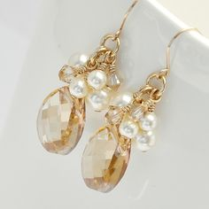 Gold Bridal Earrings Golden Crystal Earrings by somethingjeweled