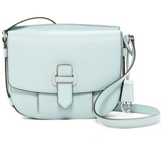 MICHAEL Michael Kors Romy Medium Leather Messenger Bag ($150) ❤ liked on Polyvore featuring bags, messenger bags, celadon, leather messenger bag, courier bags, green bags, shoulder strap bags and zip lock bags
