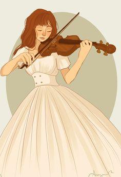 Girl playing the violin (ARA) Violin Drawing, Violin Art, Violin Sheet, Selection Series, The Selection, Emilie Jolie, Girl Playing Violin, Timberwolf, Arte Sketchbook