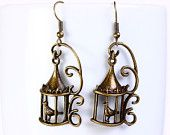 Holiday Sale - Antique brass bird in a cage drop dangle earrings (567)