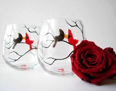 Love Birds Stemless Wine Glasses--Hand-painted by Mary Elizabeth Arts