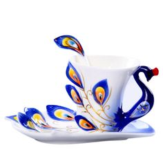 Hand Crafted Porcelain Enamel Delicate Peacock Tea Coffee Cup Set with Saucer and Spoon - Orange