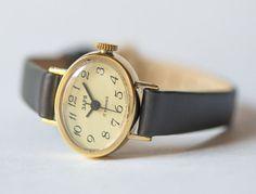 Oval woman's watch tiny wristwatch feminine gold by SovietEra, $69.00