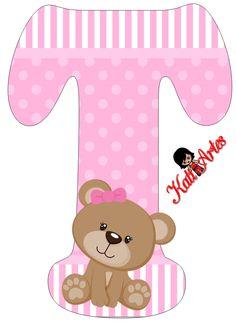 Alfabeto de tierna osita con fondo rosa. | Oh my Alfabetos! Alphabet Letters Design, Alphabet And Numbers, Scrapbook Bebe, Teddy Bear Pictures, Baby Shawer, Bear Party, Paper Flower Backdrop, Baby Album, Toot