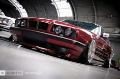 BMW E34 5 series red slammed Stanceworks