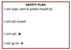 Safety Plan Printable | Therapy & treatments | Pinterest | Safety ...