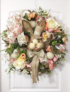 Easter Wreath, Easter Rabbit Wreath, Easter Bunny Wreath, Floral Wreath, Burlap Easter Wreath, Easter Decor, Spring Decor,Mesh Easter Wreath by CharmingBarnBoutique on Etsy