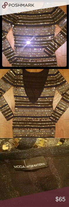 Dress Shine bright like a diamond in this shimmery thread tunic dress with sequin detail - Navy, gold, black & bronze - its a head turner - size tag cut off because they put it in a stupid place where it constantly stuck out the back of the dress - that deep V is the back Victoria's Secret Dresses Mini