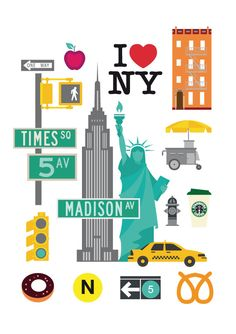 New York, new york city iconic, icons, #newyork #NYC #NY art poster, fine art…