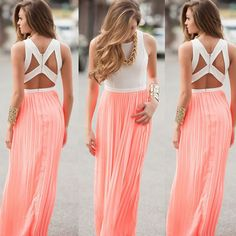 Women's Gorgeous Peach Pink and White Back Cutout Maxi Dress. SKU: 2481014Sleeve Style: Off the ShoulderPattern Type: SolidStyle: BohemianMaterial: Polyester,ChiffonSeason: SummerDresses Length: Floor-LengthSleeve Length: Sleeveless Fit: Smaller than normal, order up a size Please allow 2-5 weeks for shipping/processing time.